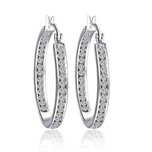 Swarovski Elements Inside Out Hoop Earrings Silver